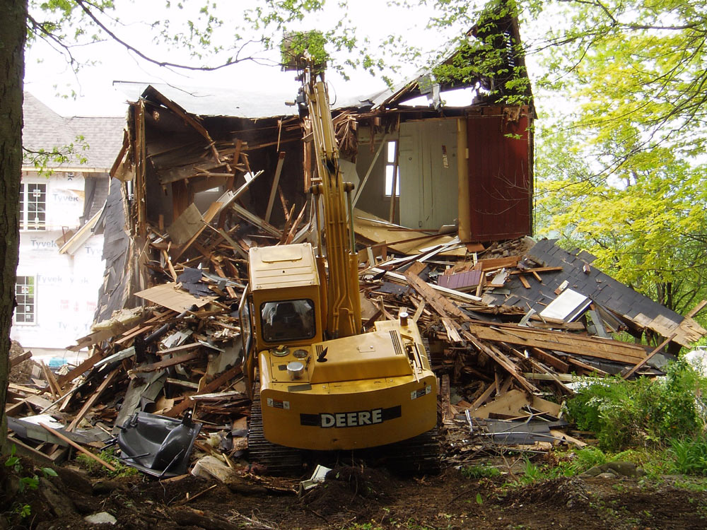 demolishing a house